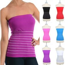 Seamless Half Striped Tube Top Strapless Stretchable Cute Ribbed Solid ONE SIZE