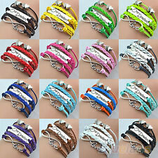 Vintage One Direction Charm Bracelet Multilayer Infinity Love Cuff Bangle B12U