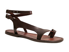 Handmade brown genuine leather womens flat sandals Made in Italy