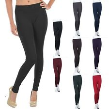 Solid Plain Seamless Basic Inner Fleece Full Length Leggings Nylon Span ONE SIZE