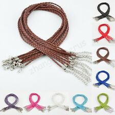 10 Pcs Real Leather Adjustable Braided Necklace Charms Findings String Cord 3 mm