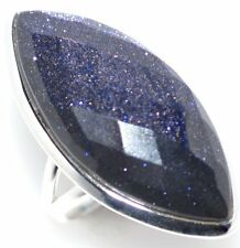 925 Sterling SILVER Ring BLUE Faceted Sun stone Rings All Size L,M,R,S,T,U,V,W,Y