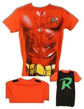 Robin Batman Muscle Costume Red T-Shirt with Velcrow Cape New
