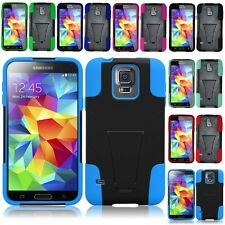 For Samsung Galaxy S5 Hybrid Hard Cell Phone Case+Soft Silicone Cover Kickstand