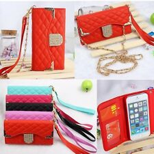 2in1 Bling Diamond Luxury Handbag Wallet Leather Case Cover For iPhone Samsung