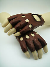 NEW MOSS LUXE Men's Fingerless Leather Driving Cut Gloves Classic VTG Goodwood