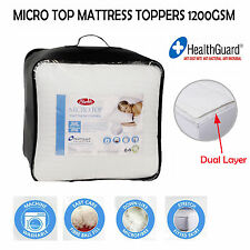 1200GSM Micro Top Washable Mattress Topper- SINGLE King Single DOUBLE QUEEN KING