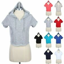 Drawstring Hooded Cropped Top Rolled Up Short Sleeve V Neck Casual Cotton S M L