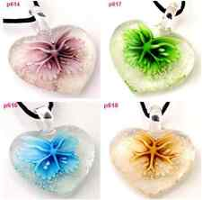 lovely HEART FLOWER lampwork Murano art glass beaded pendant necklace p614 one