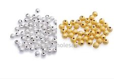 Lots 80/100Pcs Stardust Copper Ball Round Spacer Loose Beads 3mm 4mm