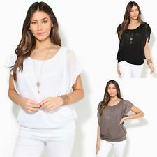 Womens Oversized Chiffon Mesh Batwing 2 in 1 Necklace Vest Cape Top Blouse Party