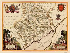 Old Great Britain Map - Monmouthshire, Wales - Blaeu 1645 - 23 x 30.03