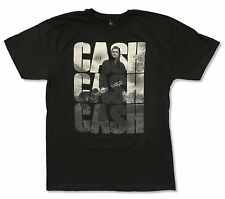 "JOHNNY CASH ""TRIPLE LOGO"" BLACK T-SHIRT NEW OFFICIAL ADULT"