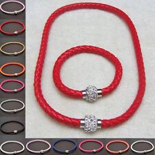 Mens Womens Leather Wristband Punk Magnetic Crystal Buckle Bracelet Necklace Set