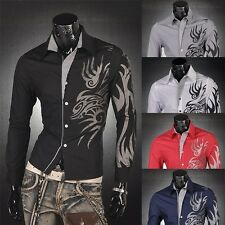 Jeansian Mens Dress Shirts Tops Casual Fashion Tattoo Slim 5 Colors 5 Sizes Z001
