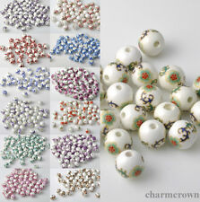 15pcs Flower Design Round Craft Ceramic Porcelain Loose Spacer Bead Charms 12mm