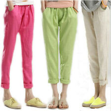 New 2014 Women's Casual Drawstring Elastic Waist Cotton Linen Harem Loose Pants