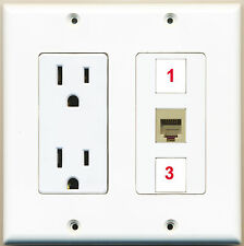 *(2 GANG Power Outlet Left 15A 125V] 1xPHONE JACK F-F+2xCUSTOM Port Wall Plate