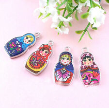 Hot 5Pcs Two-Sided Mixed Color Enamel Russian Doll Charm Pendant 4 Style Choose