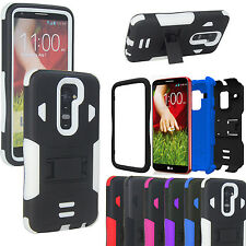 Hybrid Rugged Tri-layer Tuff Armor Stand Case Cover For LG Optimus G2 D802 LS980