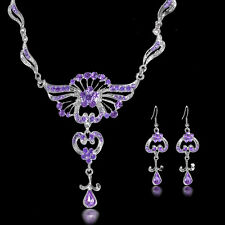 New Women Wedding Bridal Jewelry Crystal Rhinestone Necklace Hook Earrings Set