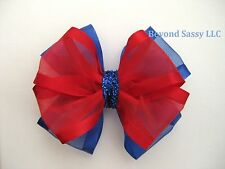 Girl July 4th Sheer Organza Red Royal Blue Glitz Hair Bow Clip Barrette Headband