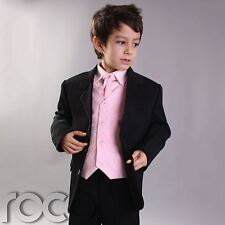 Boys Black & Pink Suit, Boys Prom Suit, Page Boy Suits, Boys Wedding Suits