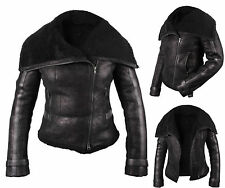 Ladies Jacket Coat Black Short Biker Style Real Shearling Sheepskin Leather