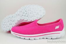 SKECHERS GOWALK GO WALK 2 SUPER SOCK HOT PINK/WHITE SLIP-ON LOAFERS WOMEN SIZE