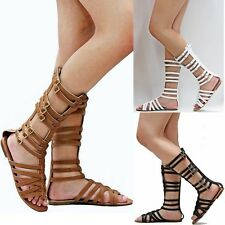 New Women TQr  White Tan Black Strappy Gladiator Mid-Calf Tall Sandal sz 5 to 10