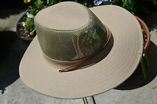 Mens Cool Outdoor Fishing Hiking Outback Safari Vented Sun Hat Wide Brim NEW