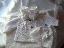 BABY CARDIGAN, HAT AND BOOTIES.0/3 MONTH OLD.DRESSY, EVERYDAY. PINKCLOUDCRAFTS
