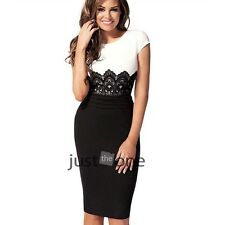 Elegant Womens Office Lady Waisted Shape Black & White Joint Lace Evening Dress