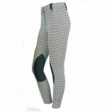 On Course Regal Plaid EUROSEAT Breeches - Front Zip - Blue Plaid - SALE!