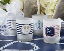 96 Personalized Nautical Theme Frosted Glass Votive Candle Wedding Favors