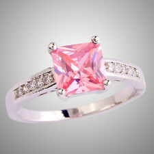 New Releases Women's Pink Sapphire Gemstones Silver Ring Size N P R T Free Ship