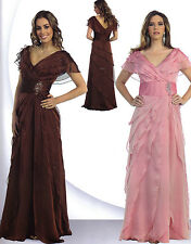 BROWN FORMAL OCCASION MODEST MOTHER OF BRIDE GROOM DRESS EVINING  SZ XL FIT 12