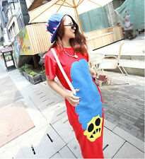 2014 Women's Girls Punk Hip Hop Fancy Cool Cartoon Mid Calf Cotton T Shirt Dress