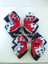 July 4th Patriotic Red Navy Star Rhinestone Hair Bow Pigtail Barrette Headband
