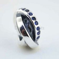 Sterling Silver 925 European Charm Rings of Destiny Blue CZs Bead 88183