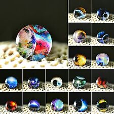 10x Galaxy Theme Photo Round Glass Cabochons Dome Image Magnifying For DIY