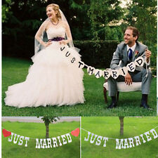 JUST MARRIED Garland Western Wedding Banner Party Decor Bunting Sign Romance