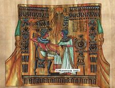 """Egyptian Papyrus Painting - King Tut & his wife 8X12"""" + Hand Painted #38"""