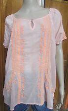 Nine West Vintage America Peach Embroidered Short Sleeve Blouse NWT SZ M or L