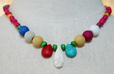 BEAUTIFUL TEARDROP WHITE/BLUE TURQUOISE RED CORAL RESIN WOOD BEADS NECKLACE