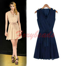 HOT Elegant Women Dress Deep V Chiffon Pleated Spliced Mini Cocktail Dress Party