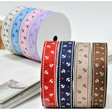"5/50/100 yards 3/8"" 5/8"" 1"" 1.5"" anchor star sewing craft gift grosgrain ribbon"