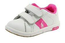 Polo Ralph Lauren Toddler Girl's Serve EZ Fashion White/Neon Pink Sneaker Shoes