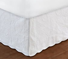 WHITE QUILTED Twin Full Queen King BEDSKIRT : COTTAGE PAISLEY BED SKIRT RUFFLE