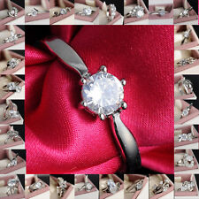 Woman Favorable 18K White Gold Filled White Sapphire Outstanding Ring Sz7 Gift